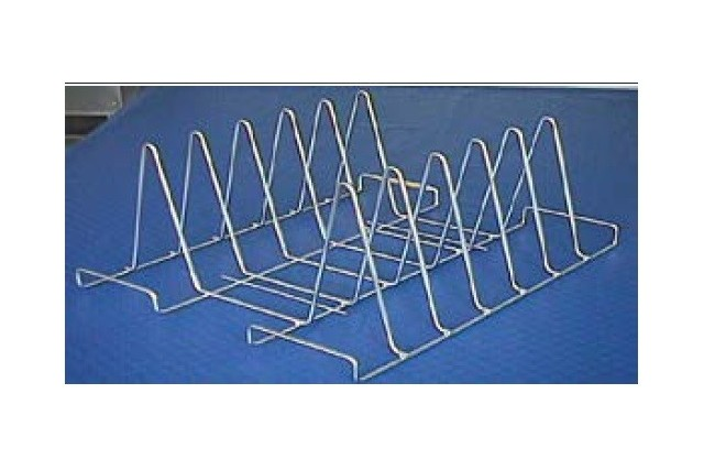Metalowy stojak do mycia tac 6 przegród, 610x490x285 mm