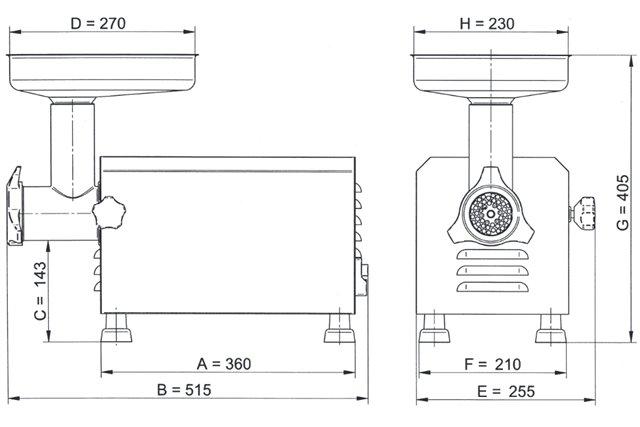 WILK maszynka do mięsa z sitkiem 4,5 mm Ma-Ga TC12